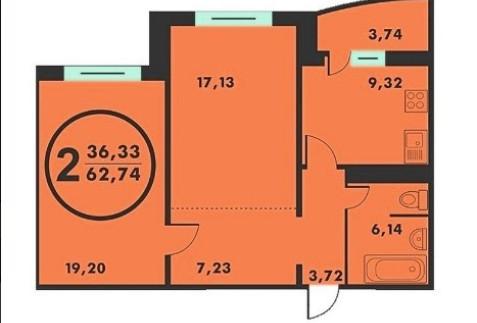2 комнатная в Комарова на Созидателей 2